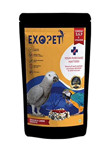 EXOPET Medium and Large Parrot Seed Mix 1 Kg (Pack of 1)