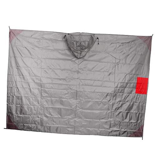 Unbekannt MagiDeal 3 in 1 Wasserdicht Regenponcho Leicht Picknickmatte Nylon Strandmatte Zelt Sonnenschutz Decke mit Kordelzugbeutel - Grau Rot