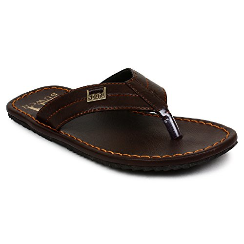Buwch Mens And Boys Synthetic Leather Comfortable Lightweight Dark Brown Slipper  available at amazon for Rs.299