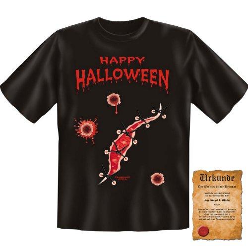 irt + Fun Urkunde: Happy Halloween - witziges Fasching Funshirt Herren Damen Shirt Geschenk Fastnacht ()