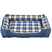 CHENYAJUAN Dog Bed Denim Plaid Lavar Desmontable Cachorro Cojín Inferior Impermeable Pet Cama para Pequeñas Y