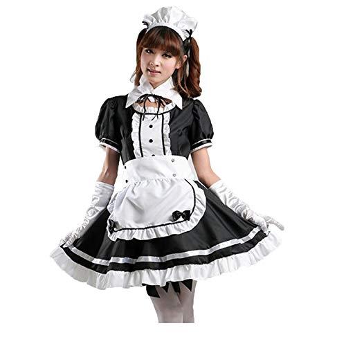 Vokaer Frauen Anime Cosplay Französisch Schürze Maid Lolita Kostüm Maid Halloween Cosplay Kleid Schwarz Rot,Black,L