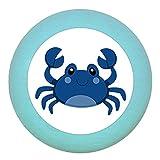 Möbelknopf Möbelgriff Möbelknauf Jungen hellblau dunkelblau blau Massivholz Buche - Kinder Kinderzimmer Krabbe blau Meerestiere maritim - türkis hell
