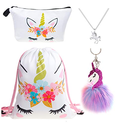 0859b9fd91b1 DRESHOW Pack de 4 Unicornios Mochila con cordón Maquillaje Bolsa Collar de  cadena de