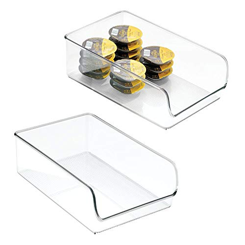 mDesign 2er-Set Aufbewahrungsbox - Behälter für Konserven und abgepackte Lebensmittel - Organizer für Küche und Vorratskammer - durchsichtig