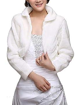 BoBoLily Chal De Novia Mujer Otoño Invierno Chal De Piel Elegantes Colores Sólidos Fashion Chaquetas Especial...