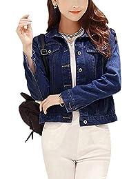 Cappotto Jeans Elegante Donna Moda Cappotto Corto Autunno Manica Lunga  Bavero Single Breasted Tasche Anteriori Classiche Slim Fit Giacche Jeans  Vita… 87ba46120d9