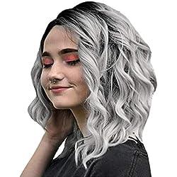 ღ Brisk-Fairy Perruques complète Gris Court Ondulé Bobo Cheveux Humains Rose Net Perruque Sans Colle Perruques Femmes Spirale Curls Score Moyen
