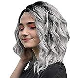 VNEIRW Perruque pour femme Cheveux humains ondulés et ondulés Cheveux humains Noir Cheveux humains Gris 30 cm