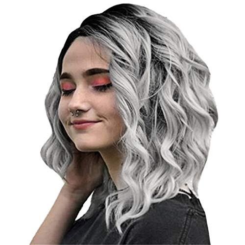 MMLC Short Wavy Gray full Lace Wig Bob Style Glueless Virgin Peruvian Human Hair Lace Front Wigs 12inch (A)