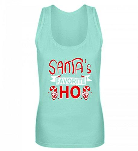 Shirtee Hochwertiges Frauen Tanktop - Santa's Favorite Ho - Lustiges Xmas Design/Weihnachten Weihnachtszeit Mint