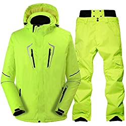 Ski Suit Male Windproof Waterproof Thicken Snow Clothes for Men Snowboard Jacket Pants Suit Winter Skiing Coat Trousers,11,M