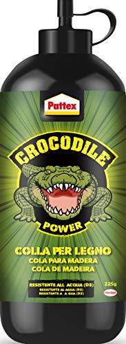 Pattex crocodile power colla vinilica per legno, forte adesivo per legno, colla legno esterno e interno*, colla trasparente con finitura naturale, resistente all'acqua, 1x225g