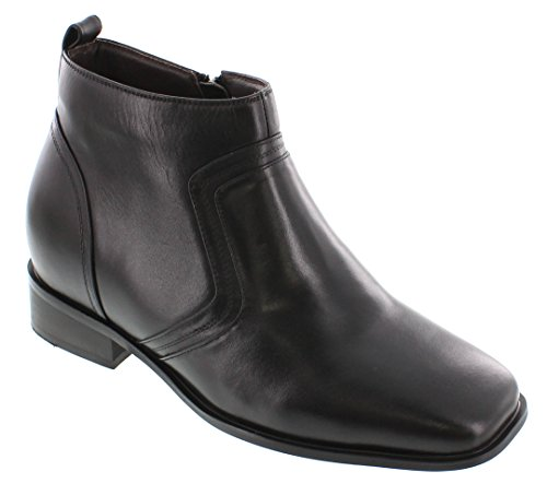 CALTO G99809-3.2 inches Taller - Size 11.5 D US - Height Increasing Elevator Shoes (Black Leather Zip-up Square-Toe Boots)