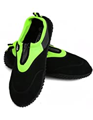 AQUA-SPEED® ZAPATOS AGUAMARINA Modelo 4A (35-45 Unisex Estructura antideslizante Cremallera + UP®-Llavero), Color:Negro / Verde - 15.3;Tamaño:38