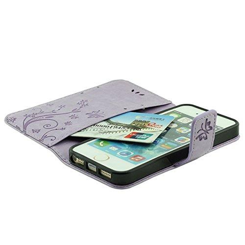 Apple iPhone SE Coque de Protection Gris, Rabat Portefeuille Doux PU Beau Fleur Motif Housse de Protection Case pour iPhone 5 5S 5G avec 1 stylet pourpre
