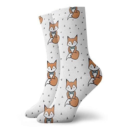 Cute Red Fox With Bow Tie Men's Classics Cotton Dress Socks Flat Knit Fashion Crew Socks for Men 30 cm/11.8 inch (Bow Bulk Ties Red)