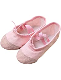 For 2.5-7 Years Old Kids , sunnymi® Fashion Cute Baby Girls Canvas Ballet Pointe Dance Shoes Fitness Gymnastics Slippers for Children