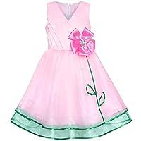 Sunny Fashion Vestito Bambina Rosa Fiore Tulle Pieghe Festa di Compleanno  6-12 Anni 5bf989c8297