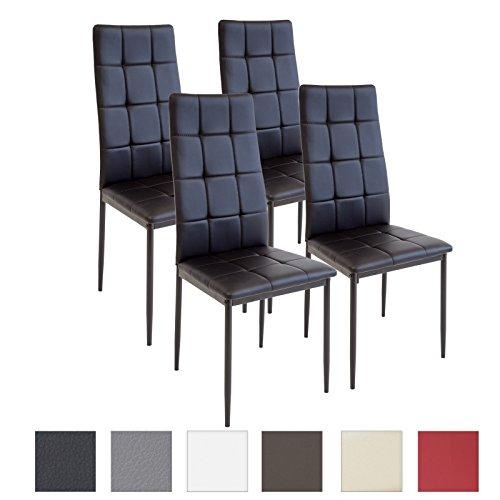 Albatros RIMINI - Set di 4 sedie per sala da pranzo, colore: Nero