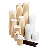 Disposable Coffee Cups Set - Kraft Paper 8-Ounce Insulated Ripple Cups with Lids and Stirring Sip Straws, Compostable Biodegradable Cups for Hot Drinks, Natural Brown 100-Pack Brown GZLCG