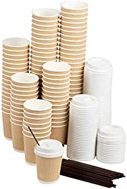 Disposable Coffee Cups Set - Kraft Paper 8-Ounce Insulated Ripple Cups with Lids and Stirring Sip Straws, Comp