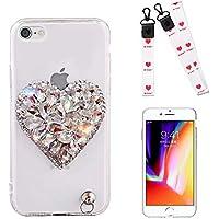 iPhone 6S Plus Strass Carcasa Corazón,MingKun Rhinestones Brillante Crystal Claro Bumpe para iPhone 6S Plus/iPhone 6 Plus 5.5 Pulgadas Cover Scintilla Scintillio Brillante Bling Caso
