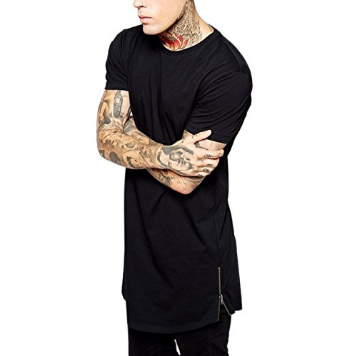 West See Herren Männer Lange Reißverschluss T-Shirt Streetwear Hip Hop Bluse Hemd Poloshirt Slim Fit Schwarz (EU M(Herstellergrößer L), Schwarz)
