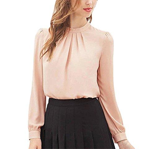Camicia donna elegante chiffon camicette piegare sciolto manica lunga casual tops primavera estiva moda giovane blusa tunica da cerimonia shirts puro colore sottile vintage camicie