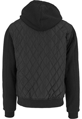 Urban Classics TB1149 Hooded Diamond Quilt Nylon Jacket Giacca Uomo Streetwear Leggera blk/blk