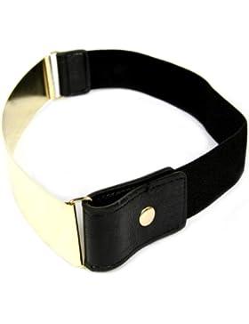 Cinturón elástico con placa metálica, en oro o plata, de Calonice Amorino Talla única 30 x 5 cm