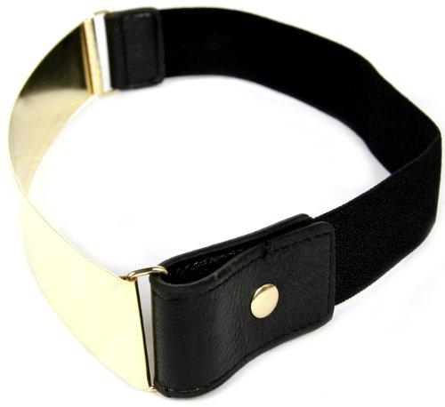 Cintura da donna Calonice Amorino con fibbia in metallo dorato con fascia nera elasitcizzata sintetica taglia unica 5001 (Nera e Oro)