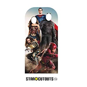 Star Cutouts SC1339 Liga de la Justicia Stand-in (adulto) Live Action Superman Batman Wonder Woman The Flash 193 cm de alto 94 cm de ancho, multicolor