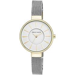 Anne Klein Maya - Reloj de cuarzo para mujer con esfera blanca y pulsera de aleación plateada, AK/N2443WTTT