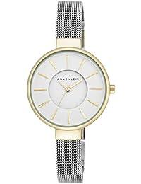 Anne Klein Reloj de cuarzo para mujer con blanco esfera analógica pantalla y pulsera de aleación de plata AK/n2443wttt