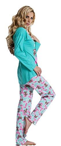 Pyjama pyjama pour femme, doux et souple 100%  coton -türkis & les tons de marron Marron - Marron