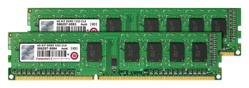 Transcend 2gb 240-pin (Transcend Arbeitsspeicher 4GB Dual Channel Kit 2x 2GB DDR3 1333MHz PC3-10600 CL9 DIMM (240-PIN, für Desktops-PCs))