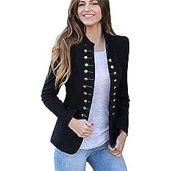 1b917835af0 Linlink Chaqueta Cortaviento Retro de Invierno para Mujeres cálido Vintage  Chaqueta Abrigo Outwear botón Uniforme Botones