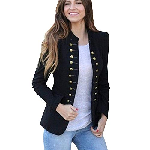 UFODB Steampunk Damen Jacke Gothic Mantel Peacoat Buttons Gehrock Doppelreiher Punk Rave Lolita Langarm Retro Mittellang Kostüm Cosplay Uniform Trenchcoat Overcoat