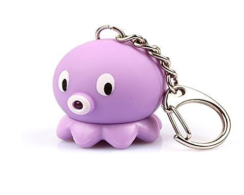 WODEJIAYUAN Neuheit-nette Krake LED KeyChain Schlüsselring-Fackel mit Licht u. Stichhaltigem Ton KeyChain Schlüsselring, der für Beutel hängt