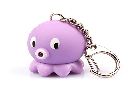 WODEJIAYUAN Neuheit-nette Krake LED KeyChain Schlüsselring-Fackel mit Licht u. Stichhaltigem Ton KeyChain Schlüsselring, der für Beutel hängt (Gefroren Für Drei-jährige)