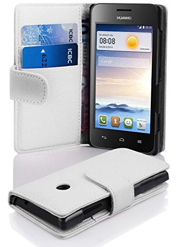 Cadorabo Hülle für Huawei Ascend Y330 Hülle in Handyhülle mit Kartenfach aus Struktriertem Kunstleder Case Cover Schutzhülle Etui Tasche Book Klapp Style Magnesium Weiß