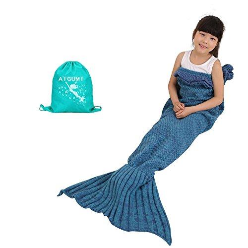 Mermaid Tail Decke, AIGUMI All Seasons Meerjungfrau Schlafsack Blanket, Häkeln Handwerk Warm Sofa Wohnzimmer BlankeT für Kinder (Blauer See)
