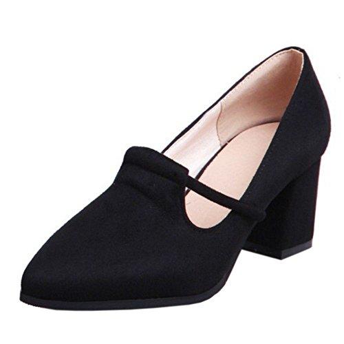 RAZAMAZA Damen Classic Geschlossene Chunky Heel Pumps Schuhe Slip ons (34 EU,Blue)