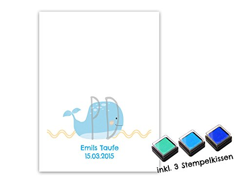 Fingerabdruck Gästebuch für Jungen DIN A4 Walfisch blau blau - personalisiert für deine Taufe mit Stempelkissen - 2