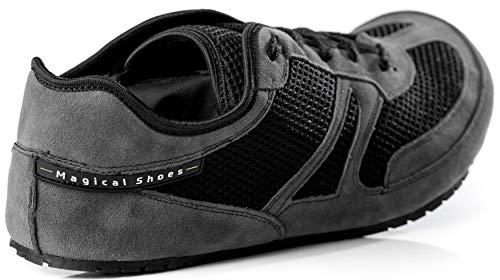 Magical Shoes Explorer Vegan Barfußschuhe | Damen | Herren | Jugendliche | Laufschuhe | Zero Drop | Flexibel | Rutschfest, Größen:44/282mm, Farbe:MS Explorer Vegan - Grau/Schwarz - 3
