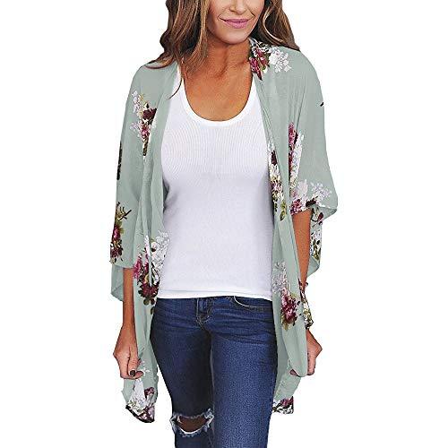 Aiserkly Damen Chiffon Lose Schal Print Kimono Cardigan Top Cover Up Bluse ()