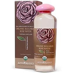 Alteya Organic Agua Floral de Rosa (Rosa Damascena) 250 ml – Botella - 100% Puro Natural Bio Producto con Certificado USDA Destilado al Vapor de Frescas Cosechas a Mano Flores de Rosa Vendidas Directamente por el Cultivador y Destilador Alteya Organics desde el Corazón del Valle de las Rosas en Bulgaria