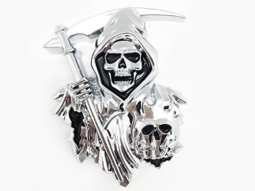 3D Grim Reaper para cualquier superficie - Calcomanías de coches de - Pegatinas para camiones o carros que cuentan con una calcomanía de cromo personalizada de crim Grim Reaper como un emblema 3D