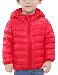 Happy Cherry - Doudoune Duvet à Capuche Enfant Garçon Fille Léger Zippé  Large Doux Chaud Hiver 61a642f1da8